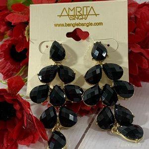 Amrita Singh Jet Black Chandelier Earrings